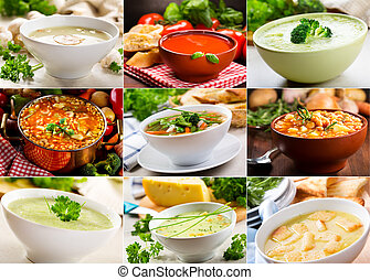 various soups  - Collage of various soups