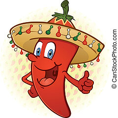 Sombrero Pepper Thumbs Up Cartoon - A smiling chili pepper...