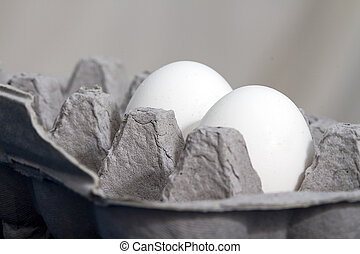 Eggs in Egg Carton - Two eggs sitting in egg carton