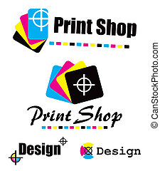 Set of CMYK designs - Symbol of print shop created in CMYK...