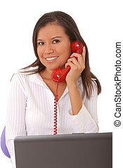 Young Businesswoman - Lovely brunette business woman working...