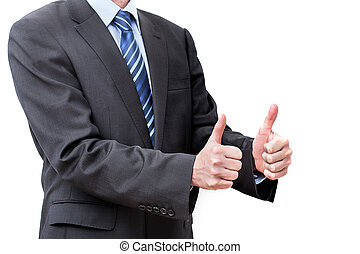 OK gesture - Man in a suit showing OK gesture, isolated