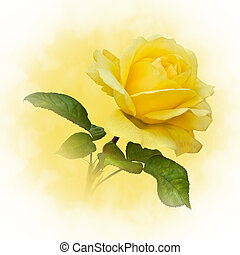Golden Yellow Rose - A single yellow rose on a natural stem...
