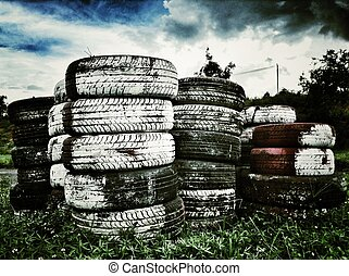 Old tires stacked