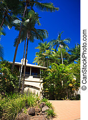 Upmarket tropical villa - View up the driveway of a double...