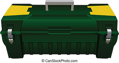 Toolbox - Plastic tool box with carrying handle Vector...