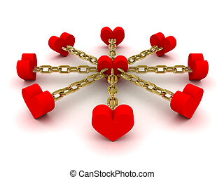 Eight hearts linked to one heart