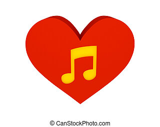 Big red heart with music symbol.