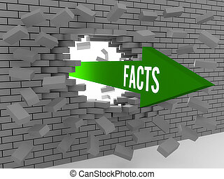 Arrow with word Facts breaking brick wall Concept 3D...