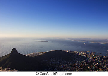 Lion's Head and Robben Island - The view of Lion's Head,...