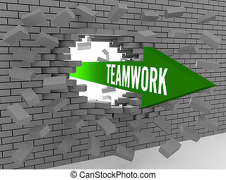 Arrow with word Teamwork - Arrow with word Teamwork breaking...