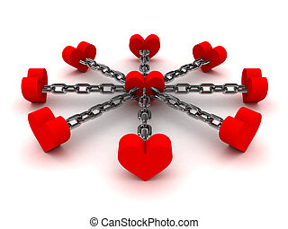 Eight hearts linked by black chain to one heart in center...