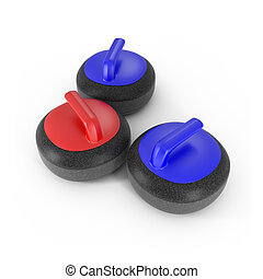 Curling Stones with Red and Blue Handle isolated on white -...