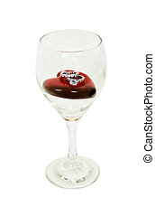 Wine Glass with red heart and diamond engagement ring