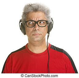 Bothered Mature Man - Bothered Black DJ with headphones on...