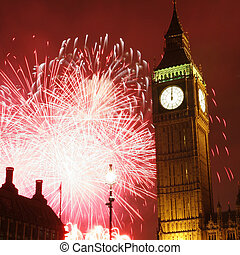 2013, Fireworks over Big Ben at midnight - Fireworks over...