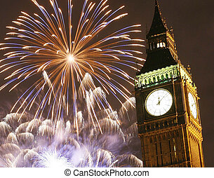 2013, Fireworks over Big Ben at midnight - LONDON, UK -...