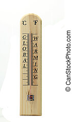 Global Warming - Global warming is written on a wooden...