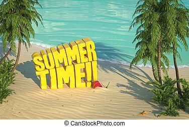 verão, topo, tropicais, tempo, praia, vista
