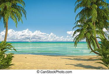 idyllic, praia,  caribean, vista