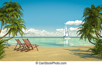 idyllic caribean beach view - Frontal view of a caribbean...