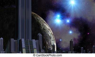 City of aliens, huge planet and UFO - The city from high...