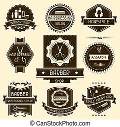 jogo, barbeiro, loja, emblemas, retro, estilo