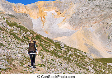 Woman Hiking with Backpack in Mountains on top with glacier snow and rocks on background