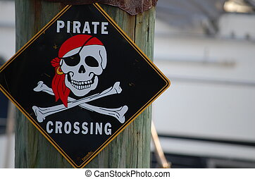 Pirate crossing - A black diamond shaped pirate crossing...