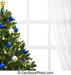 christmas tree with decoration, on white background