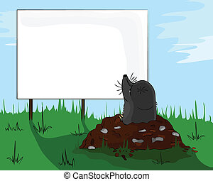 Mole on molehill looking at a billboard, signboard,...