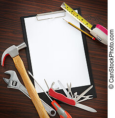 do it yourself tools - white paper as copy space, working...