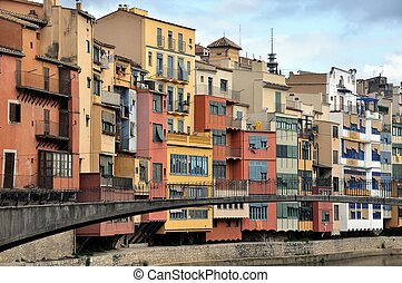 Colorful houses of Girona, Spain - A View of the City of...