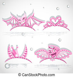 Pink tiaras set with hearts for carnival costume to the...