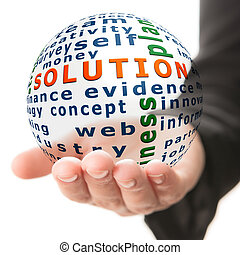 Concept of solution in business - Transparent ball with...