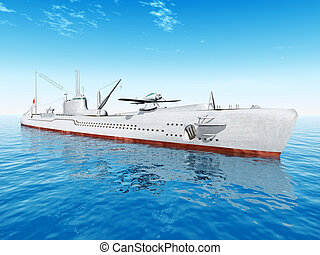 Japanese Submarine - Computer generated 3D illustration with...