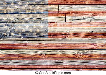 viejo, pintado, norteamericano, bandera, Oscuridad, de...