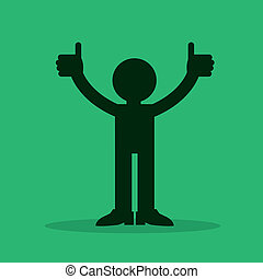 Figure Thumbs Up  - Figure silhouette with two thumbs up