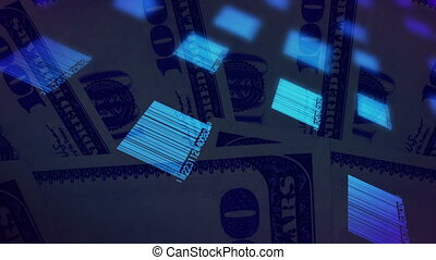 Bar codes and money looping animated background