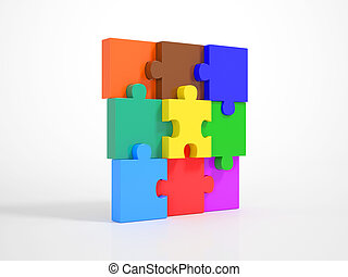 Pieces of a Puzzle building a Wall - Multicolored Pieces of...