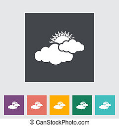 Cloudiness single flat icon Vector illustration