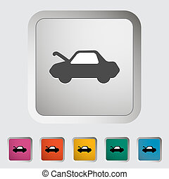 Car hood release button Single icon Vector illustration
