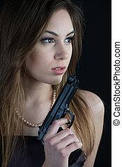 beau, dangereux, femme, fusil