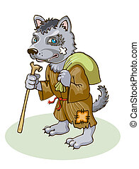 Wolf - A wolf is a monk Vector image
