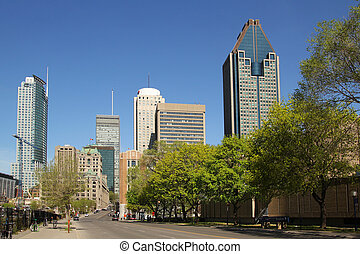Montreal downtown with trees by a nice summer day