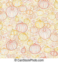 Thanksgiving line art pumkins seamless pattern background -...