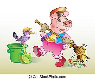 Piglet dustman - The pig cleans dust. Vector illustration