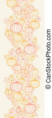 Thanksgiving line art pumpkins horizontal seamless pattern...