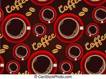 Red cup of coffee seamless background