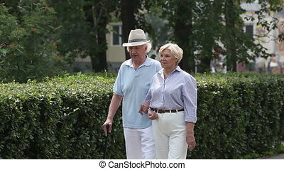 Care and support - Elderly couple strolling arm-in-arm along...